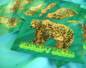 grumpy bear postcard set of two green brown realistic grizzly