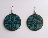 Hand painted black and teal tribal design earrings