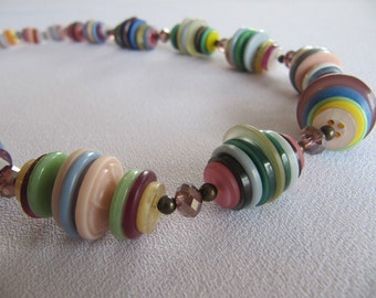 One-of-a-kind jewelry, buttons necklace, pastel colors