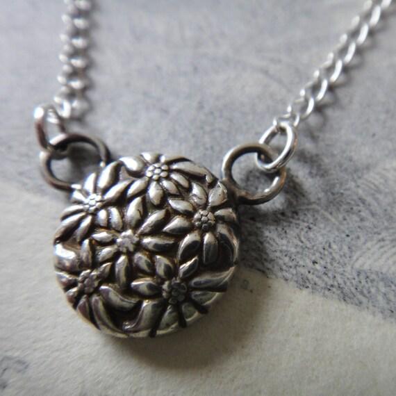 Sofia fine silver vintage button reproduction pendant
