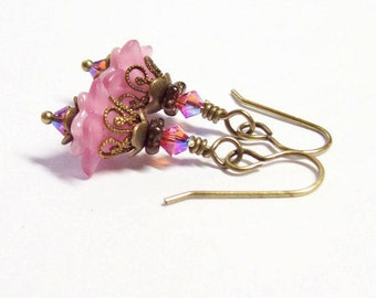 Sparkling Pink Floral Earrings by Liz's Fineries - Swarovski Crystal, Czech Glass, Lucite, Brass Dangle Earrings - Ready to Ship