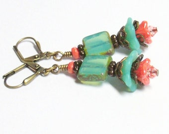 Turquoise & Coral Boho Floral Earrings by Liz's Fineries - Czech Glass / Swarovski Crystal / Antiqued Brass Dangle Earrings - Ready to Ship
