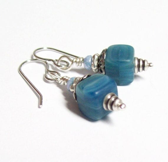 SALE - Hypnotic Blue Cube Earrings - FREE Domestic Shipping