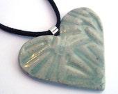 Ceramic Heart Pendant in Celadon