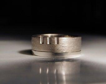 Palladium white gold man's architect wedding ring