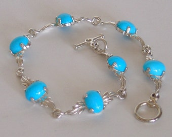Sleeping Beauty Turquoise Sterling Silver Leafy Bracelet