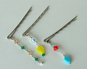 Colorful Beaded Hairpins Bobby Pins