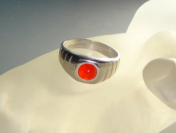 Reserved for Cassandra - Bright Orange Carnelian Cabochon Sterling Silver Ring