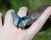 You CHOOSE color Silk Origami Butterfly Cocktail Ring Colonial Slate Blue and Peacock Royal Blue SMALL SIZE