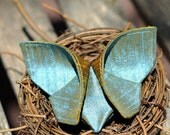 Butterfly Barrette Silk Origami Butterfly Hair Clip Golden Mustard and Iridescent Antique Blue Silks Fall Pantone Bamboo Quarry LARGE SIZE