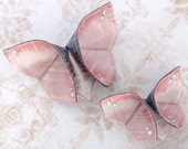Mother's Day Hair Clips Mother Daughter Silk Origami Butterfly Spring Mom Daughter Matching Clips Graphite and Iridescent Pearl Pink Gift