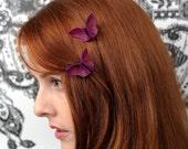 PAIR Silk Hair Clips Origami Butterflies Matching Hair Clips Grape Silk and Iridescent Fuchsia Violet Silk SMALL size