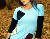 Organic Sky Blue PATCH-Work Mid-Sleeve Top -- CUSTOM Listing For YOU --  Long-Sleeve Shirt S-L