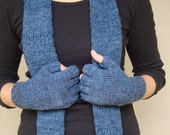Organic cotton Bamboo Knitted Scarf and Fingerless Gloves Set- Assorted Colors