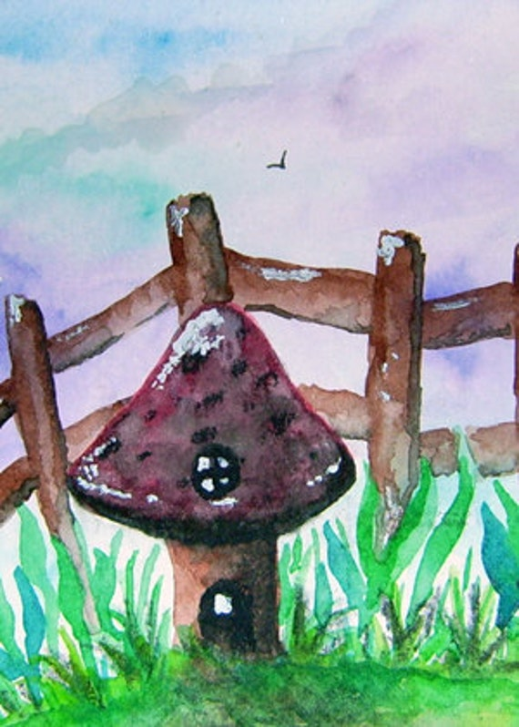 Original Miniature Art Gnome Home ACEO