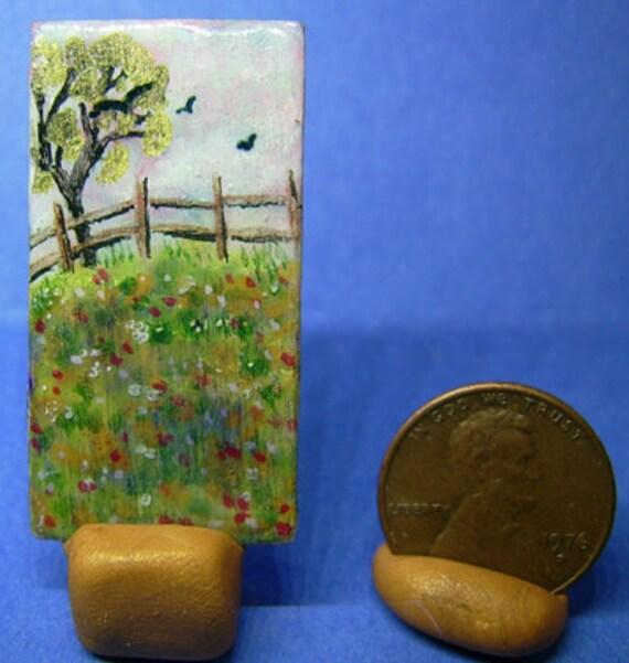 OOAK Original Tiny Miniature Doll House Art 3/4 x 1 1/2 inch Field of Flowers