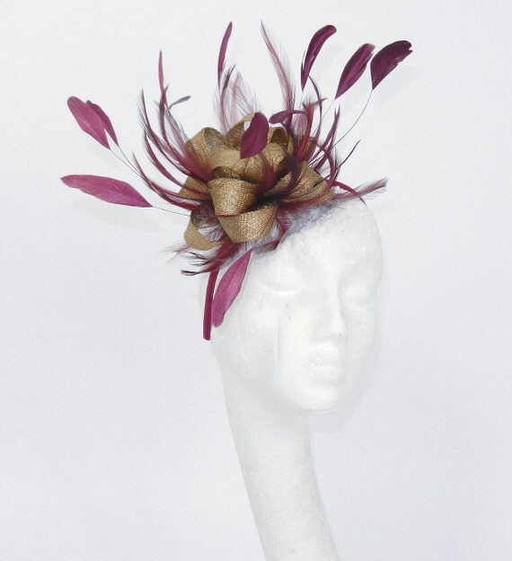 Plum & Gold Twinkette Fascinator Hat for Weddings, Races, and Special Events With Headband