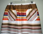 Reserved SALE 1970s Sassy PaTTY WOODWARD Stripe Polished Cotton Double Zipper Skirt for HOT Pants Size S to M