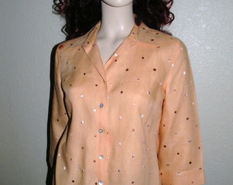 IRISH LINEN Apricot Blouse  Size Small