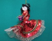 SALE  Tree Ornament Glittery girl with Christmas gift