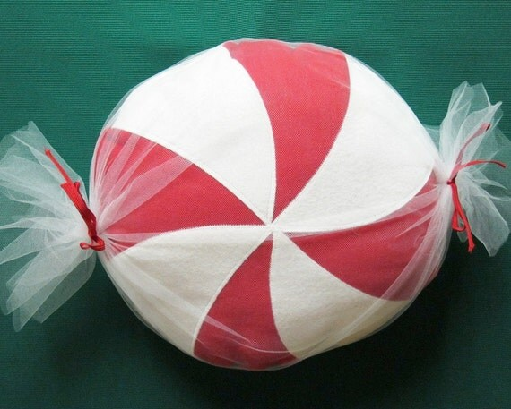 Holiday Peppermint Candy Pillow