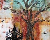 "Encaustic Collage Image Transfer Painting, ""The Giving Tree"""