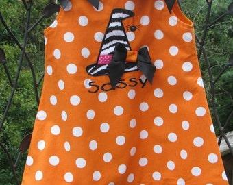 orange halloween witches hat  aline dress