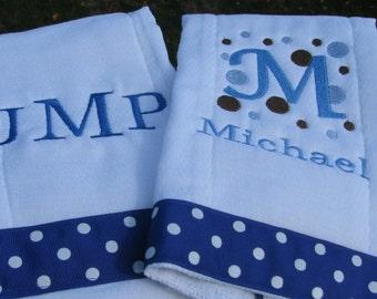 Monogrammed  Burp Cloth Set - Embroidered