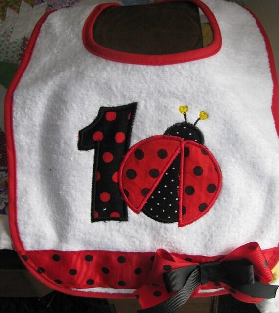 Ladybug bibs,1st birthday bib,smash cake photo,any number and name