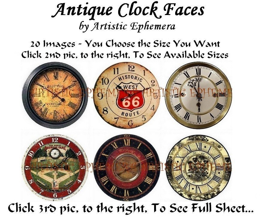DAE108B ANTIQUE CLOCK FACES DIGITAL COLLAGE SHEET