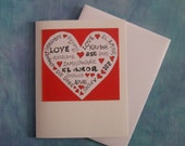 Love in Many Langauges  Red Valentine's Card
