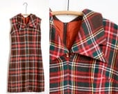 60s Red Peter Pan Collar Tartan Dress Plaid Vintage Medium Wool