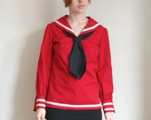 ON RESERVE 60s Red Sailor Blouse S Vintage