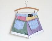 Color Block Jean Shorts Light Denim High Waist Vintage 80s Summer  S M