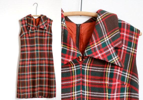 60s Red Peter Pan Collar Tartan Dress Plaid Vintage Medium Wool