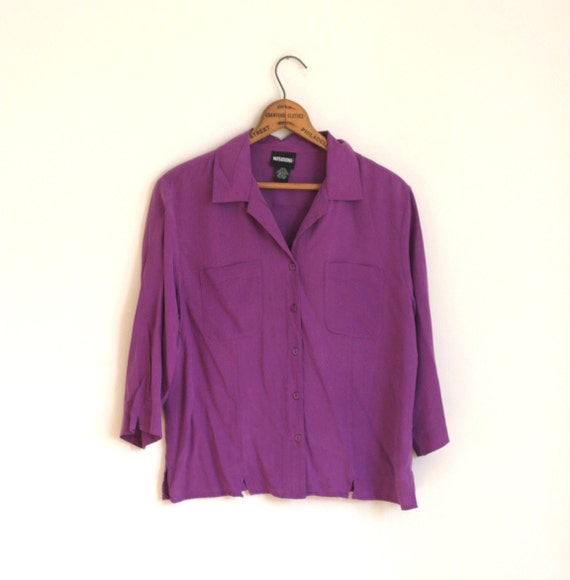 SALE Silk Blouse Purple Violet 80s SALE Vintage
