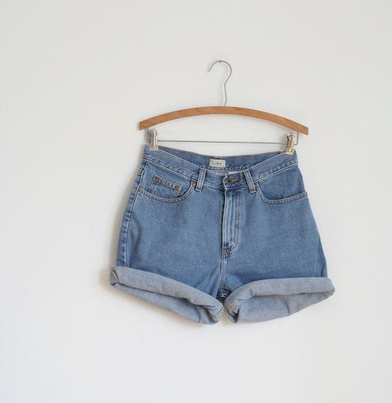 Jean Shorts Light Denim High Waist Vintage 80s Summer  S M