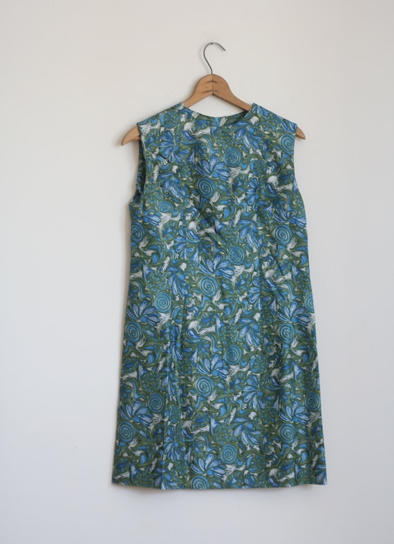 SALE Blue Green 1960s Floral Mini Dress Vintage Small