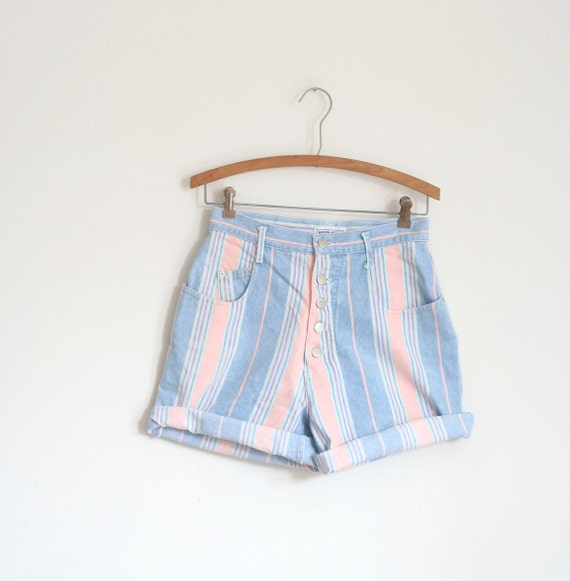 Pink Stripe Denim Shorts High Waist Vintage 80s  Small Jean