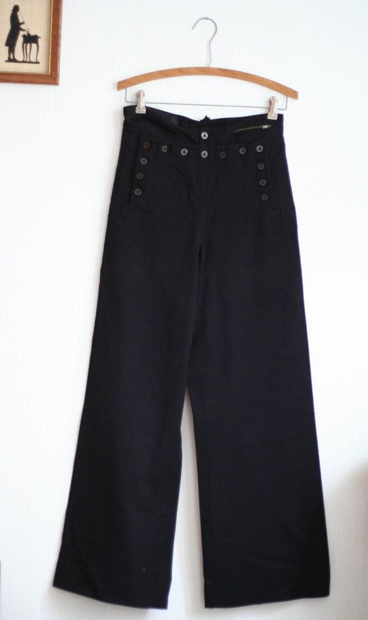 Vintage 40s Wool Navy Sailor Pants S M By Heartcity On Etsy