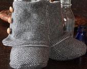 Herring Bone Wool Boots,  Size 3 (6-9mnths)