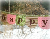 fabric happy easter spring banner / bunting