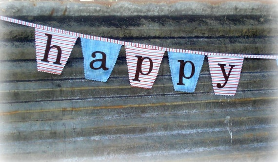 fabric happy birthday bunting / banner, 1st birthday, photo prop, baseball party