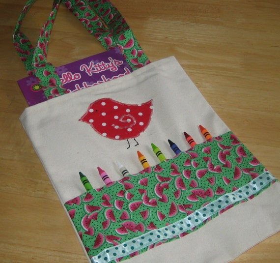 Crayon tote / bag with bird applique