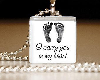 I Carry You In My Heart -- Glass Tile Pendant