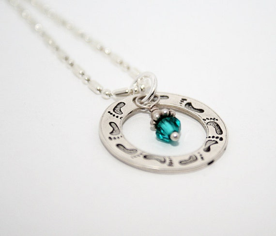Footprints on my Heart Eternity Circle -- with Birthstone