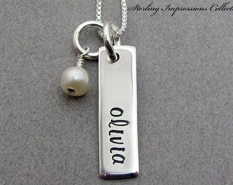 Personalized Child Necklace - Sterling Impressions Single Rectangle Birthstone Pendant Name Necklace