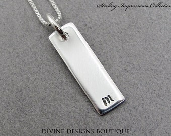 Initial Jewelry - Personalized Necklace - Sterling Impressions Hand Stamped Rectangle Initial Necklace