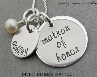 Matron of Honor Gift - Wedding Party Jewelry - Personalized Necklace