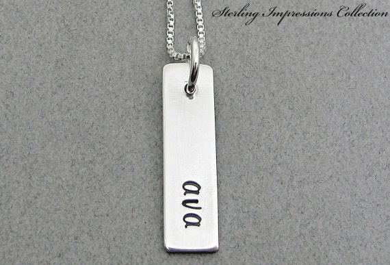 Personalized Necklace - Personalized Jewelry - Sterling Impressions Single Rectangle Personalized Necklace